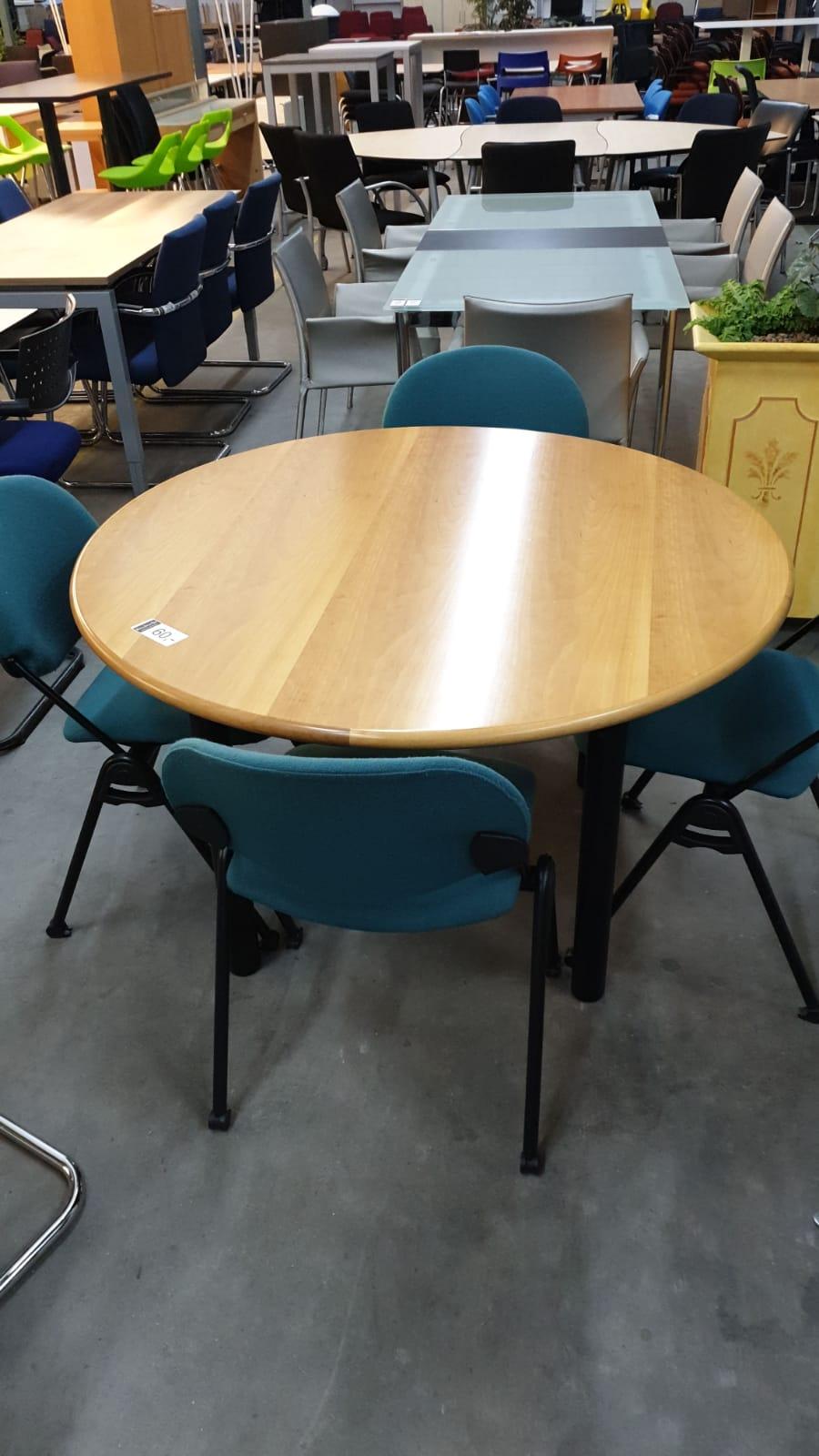 4x Verg.tafel rond 120cm beuken zwart 4-poot 60-