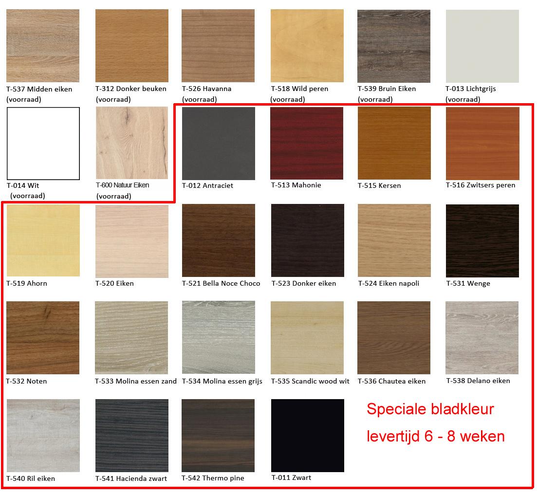 8 standaard bladkleuren op voorraad.  Speciale bladkleur levertijd 6-8 weken.